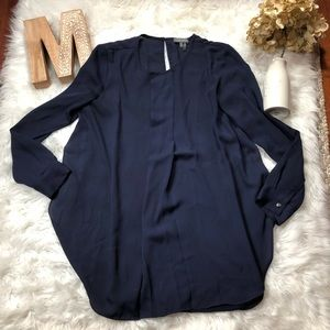 Vince Camuto Navy Blue Pleated Popover Blouse